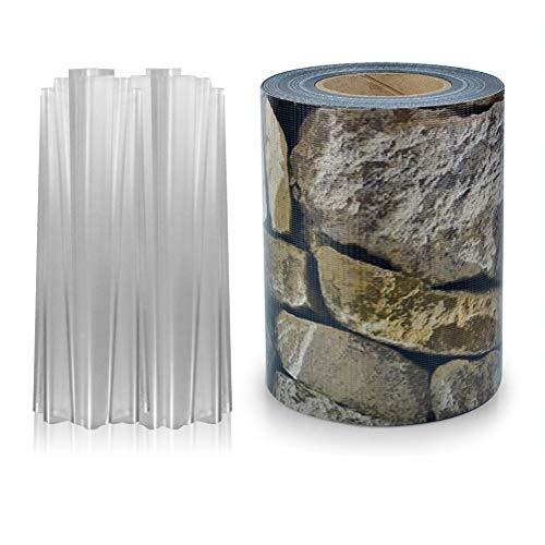 S SIENOC PVC Sichtschutz PVC Sichtschutzfolie Sichtschutzstreifen Garten Sichtschutz Zaun Inkl. 30 x Befestigungsclips 450g/m² -Roll Größe 35m x 19cm für Einzel-Bar, Doppel-Bar (35m, Stein-Optik)