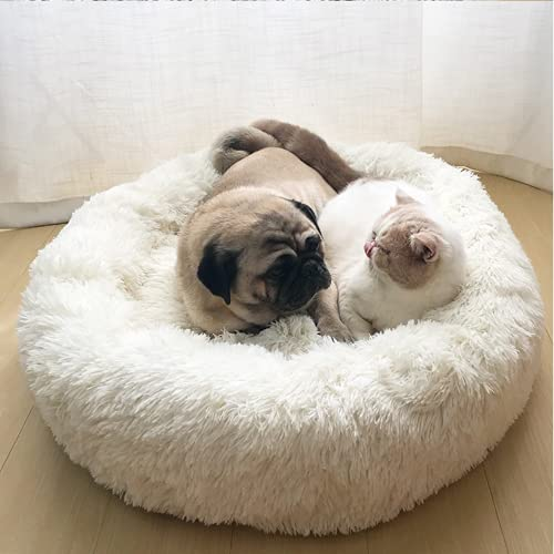 YUPPIE TONE Hundebett, Katzenbett,Waschbar Flauschiges Weicher Plüsch Rund Donut Tragbare Schlafsofa Haustierbett - Weiß 70cm