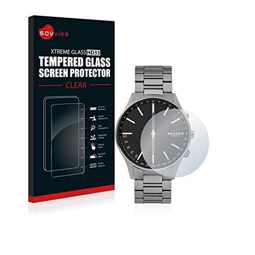 Savvies Panzerglas kompatibel mit Skagen Hybrid Smartwatch Holst - Echt-Glas, 9H Festigkeit, Anti-Fingerprint