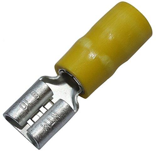 Aerzetix kabelschoenen, vrouwelijk, plat, 6,3 mm, 0,8 mm, 3,5 mm2, geïsoleerd, geel, 10 stuks