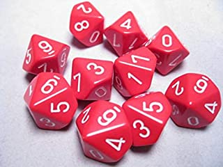 Chessex Dice Sets: Opaque Red with White - Ten Sided Die d10 Set (10)