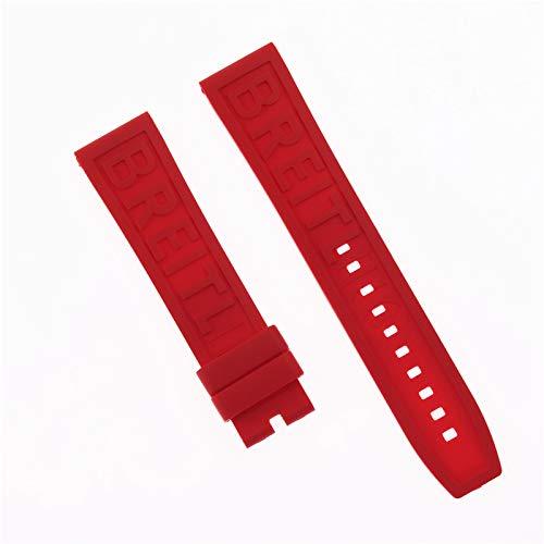 ROUHO Uhrensilikonband Atmungsaktiver Komfort Für Breitling Challenger Avenger 2 GMT-Rot 22mm