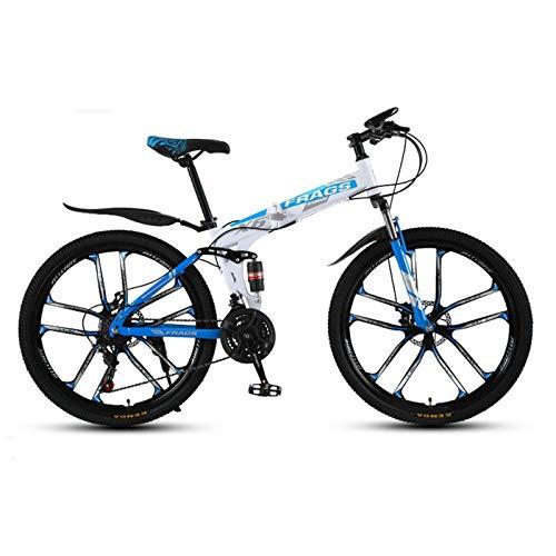 HKPLDE Bicicleta De Montaña Bicicleta De Doble Disco 26in 21 Engranaje De Velocidad,Freno De Disco Bicicleta Plegable MTB Break Lever para Adolescentes Adultos -Blanco Azul