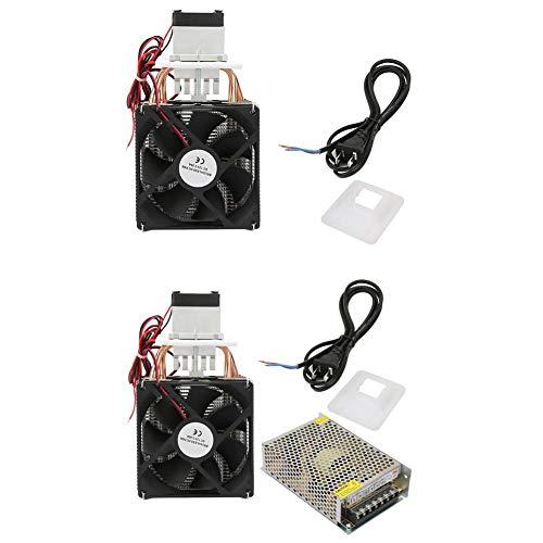 DC 12 V 5A Refrigerador termoeléctrico,Semiconductor Refrigerador Semiconductor Refrigeración Termoeléctrica Peltier DIY Mini nevera con ventilador(Refrigerador individual + fuente de alimentación)