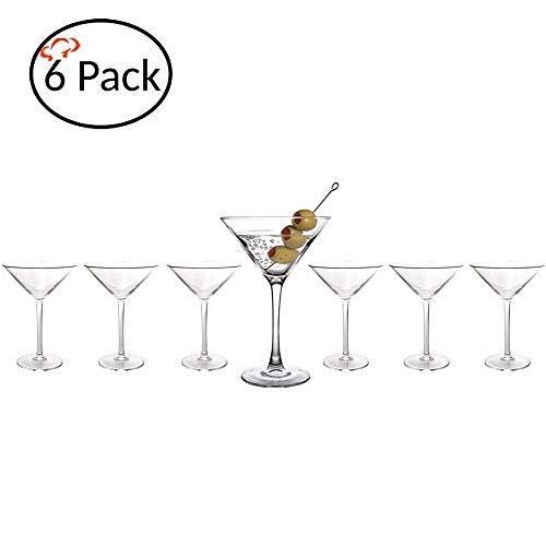 Tiger Chef Polycarbonate Shatter-Proof Reusable Stain Resistant Drinking Glasses Serve Drinks Liquor Wine Alcohol Beer Shots Cocktails Margarita Water Heavy Duty Cups Tumblers (6 Pack, Martini 8 Oz)