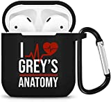 Greys Anatomy Merchandise,Grey's Anatomy Shockproof Protective Premium Silicone Cove for AirPods Case 2 & 1 (Black)