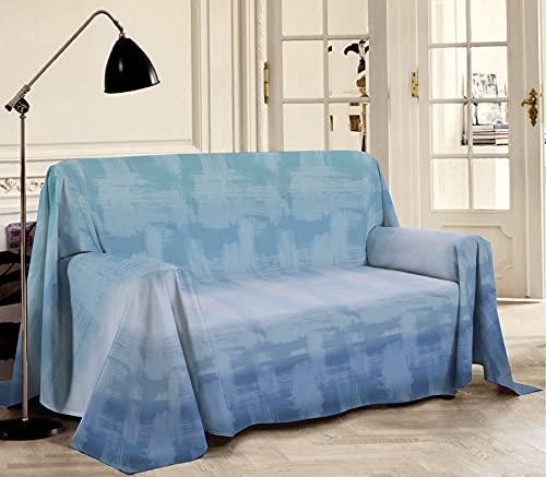 Biancheriastore Tela decorativa para sofá de piqué fabricada en Italia, diseño de arcoíris | Colcha de algodón jacquard ligera de verano de colores – matrimonial 260 x 280 cm – Azul