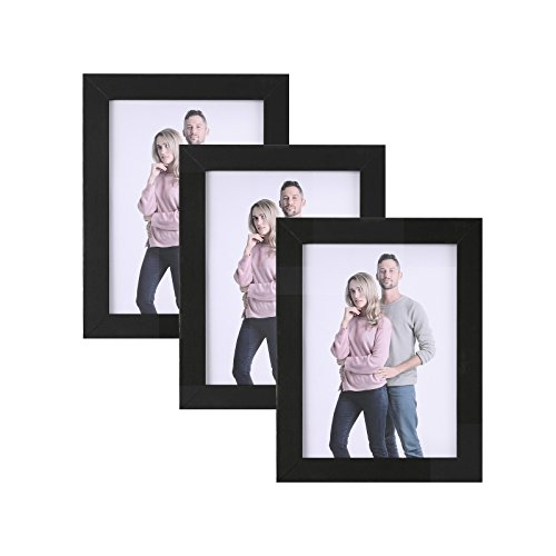 SONGMICS Juego de 3 Marcos de Fotos 13 x 18 cm, Portafotos de Madera, Vidrio Frontal, Regalo, Tablero de MDF Negro RPF33BK