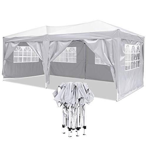 Faltpavillon Wasserdicht Gartenpavillon, 3 x 6m Partyzelt Pavillon Festzelt mit 4 Seitenteilen für Garten /Party /Hochzeit /Picknick /Markt- Tragetasche inklusive