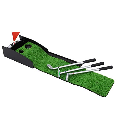 Keenso Minigolf-Set, Qualitäts-Desktop-Golfset aus Zinklegierung 3 Pen Putter mit Golf Putting Mat
