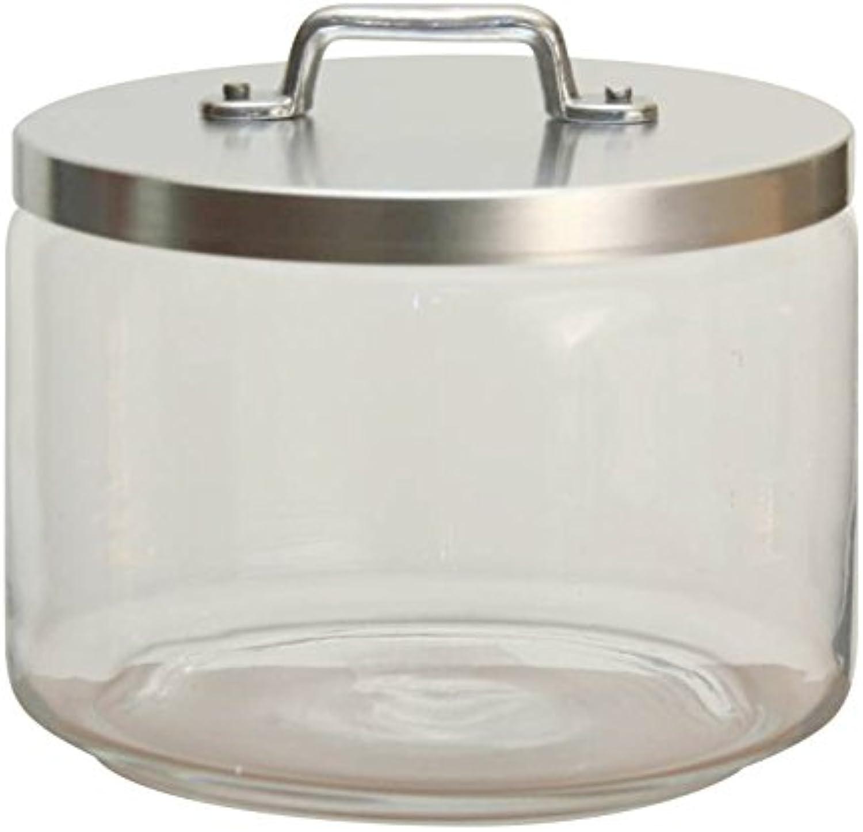 Ottinetti Glass Jar with Brushed Aluminum Lid, 2.40-Liter