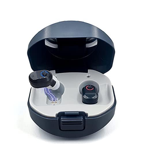 HWZZ Audífono Inteligente De Sonido Recargable 3 Modos De Escena Programa De Memoria Sin Ruido Audífonos para Personas Mayores Sordas,Negro