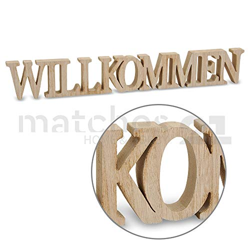 matches21 Deko Schriftzug Willkommen Holz 3D Deko-Buchstaben gesägt zum Stellen/Hängen 60x2x8 cm
