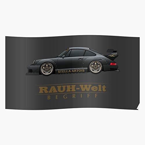 Amelius Flat 911 Rauh Widebody Welt Begriff RWB Porsche, Beeindruckende Poster für die Raumdekoration, gedruckt mit modernster Technologie auf seidenmattem Papierhintergrund