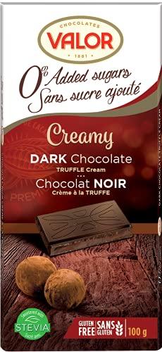 Chocolates Valor Chocolat Noir à la Crème de Truffe Sans Sucre Ajouté | Sans gluten | De la fève à la tablette | Cacao: 52% minimum | Édulcorant stévia| 100g
