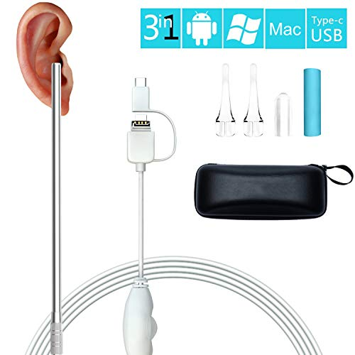 Jiusion Digitales Otoskop USB Ohrfernrohr Inspektionskamera mit 6 LED-Lichtern, 3-in-1 Ohrmikroskop Endoskop Ohrenschmalz Entferner Werkzeug für OTG Android Windows Mac Linux