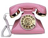 GOUDAN -QIU Antigua tecnología vintage antiguo teléfono fijo de moda/Redial manos libres Rotar dial, estilo retro de los años 60 de estilo antiguo rotatorio teléfono QIU (color: rosa)
