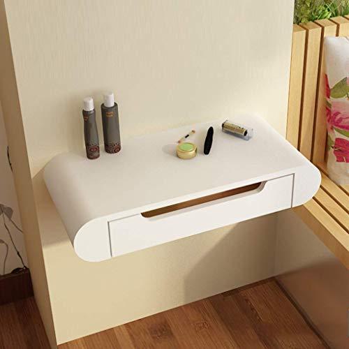 Blanc de Chevet Vanity Coiffeuse Maquillage Flottant Dresser Table cosmétique de Stockage Table d'angle Armoire Murale avec tiroir Rangement sur étagère JYT