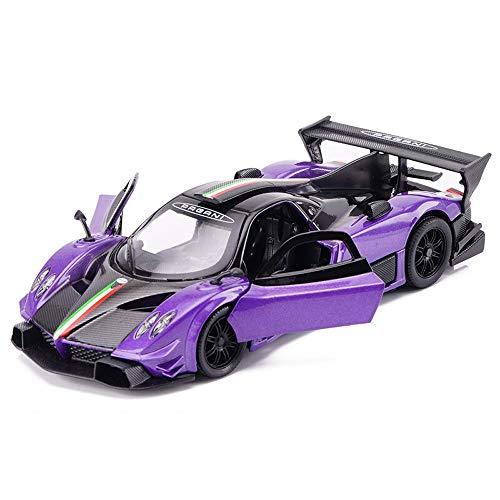 YYQIANG Giocattolo Regalo di Compleanno Regalo di Natale for Bambini Pull Zonda R 1:32 Lega Torna Toy Car Racing Sports Car Simulazione di Suono e Luce a Quattro Porte (Color : Purple)