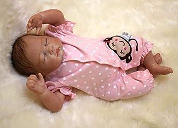 Reborn Baby Dolls 22  Cute Realistic Soft Silicone Vinyl Dolls Newborn Baby Sleeping Dolls with Closed Eyes