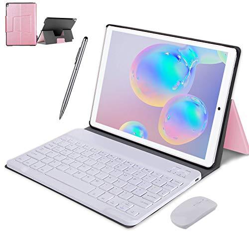 4G LTE Tablet Touchscreen 10 Zoll, Android 9.0 2 in 1 Tablet mit Tastatur 4 GB RAM und 64 GB ROM, 8000 mAh 5.0 MP 8.0 MP HD Kamera, Dual-SIM, WiFi, Bluetooth, GPS, OTG, Typ C Rosa