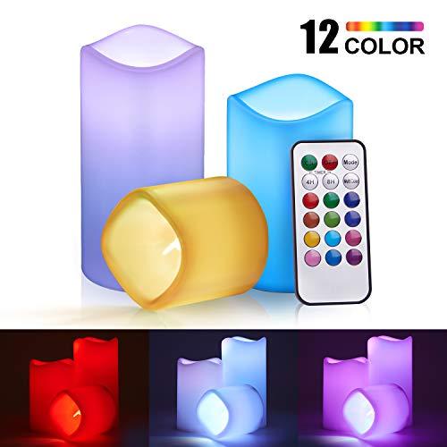 Flammenlose Kerzen Batteriebetriebene Kerzen LED mit Fernbedienung und Timer, 3er Set Farbwechselnde LED-Kerzen 7.5/11.5/15cm hoch für Geburtstags,Weihnachten,Hochzeitsdekoration