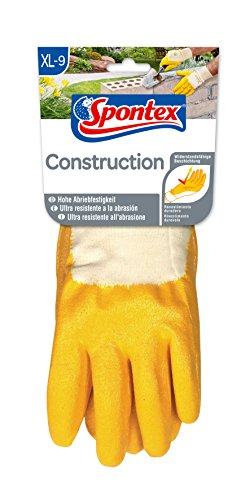 Spontex Construction Arbeitshandschuhe, ideal für grobe Arbeiten im Haus- und Gartenbau, mit Nitrilbeschichtung und Textilstrick, Größe XL, 1 Paar