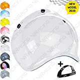 VRacing Visiera Casco 3 Bottoni Universale Casco jet e integrale Visiera Bubble a Bolla Custom retrò Vintage con meccanismo 3 altezze regolabile flip up incluso (Transparente)