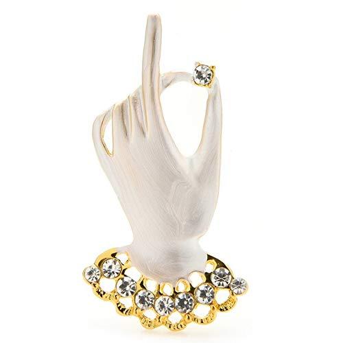Broches de mano esmaltados para mujer, diamantes de imitación, guantes blancos y negros, broche de oficina para fiestas, regalos, color blanco