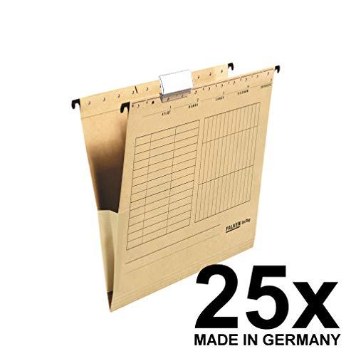 Falken UniReg van Gerecycled Karton voor Din A4 met Linnen Engel Ideaal voor Het Losse Blad Opslag Op Kantoor En De Instantie, Hangtas, 25-Pack, Bruin