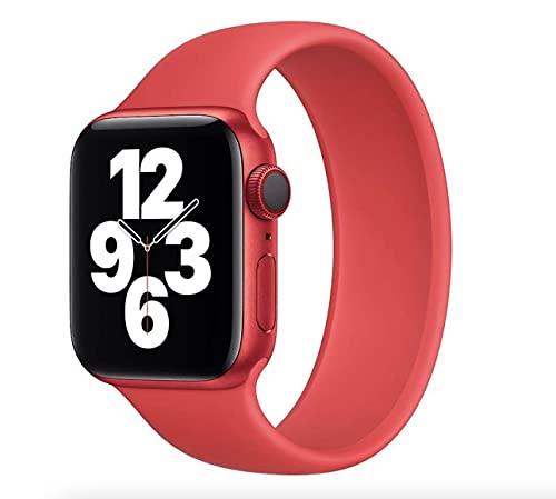 Correa de silicona Solo Loop – Compatible con Apple Watch 6/5/4/3/2/1/SE para 38/40 mm y 42/44 mm (40/38 silicona M, rojo)