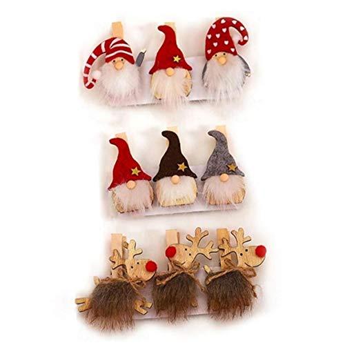 9pcs De Navidad Sueca GNOME Elk Decoración Clavijas De Madera, De Madera Crafts Clavijas Nota De La Nota Clips De Papel Postal Pinzas, Navidad Decoratio
