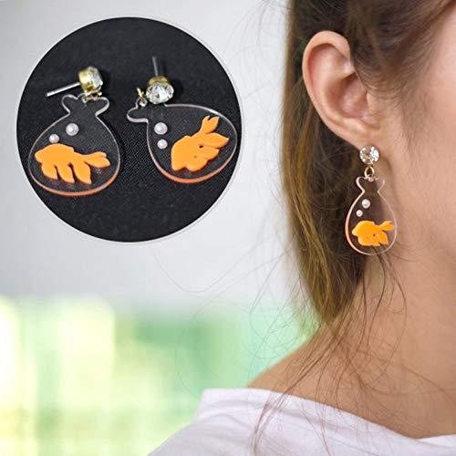 BLINGBRY goudvis watertas transparant aquarium karper oorbellen voor vrouwen meisjes geschenk leuke vis oorbellen sieraden