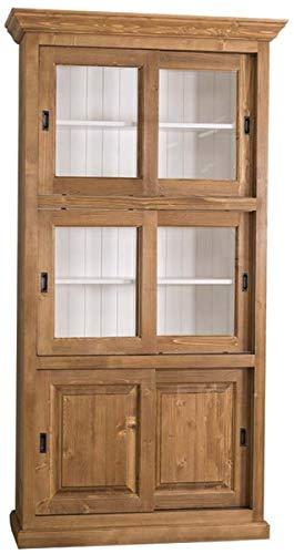 Casa Padrino Landhausstil Bücherschrank Braun/Weiß 110 x 40 x H. 210 cm - Wohnzimmerschrank mit 6 Schiebetüren