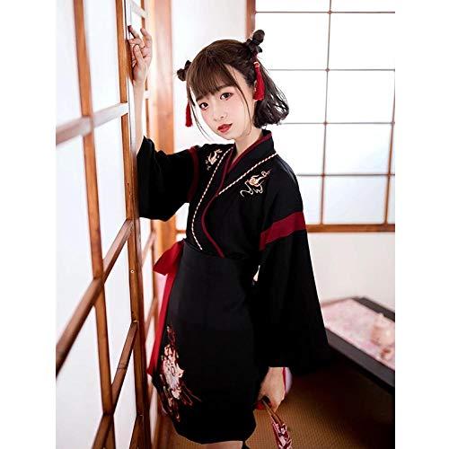 Japonesa Vestido Kimono Mujer Negro Gato Blanco Bordado Dulce Yukata del Partido De Cosplay Haori Ropa Asiática De La Vendimia 2Pieces Set Zzzb (Color : Black, Size : L)