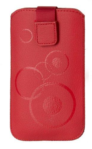 Handytasche Circle für Samsung Galaxy Note 3 Neo 3G N750 Handy Tasche Schutz Hülle Slim Hülle Cover Etui rot mit Klettverschluss (z2)