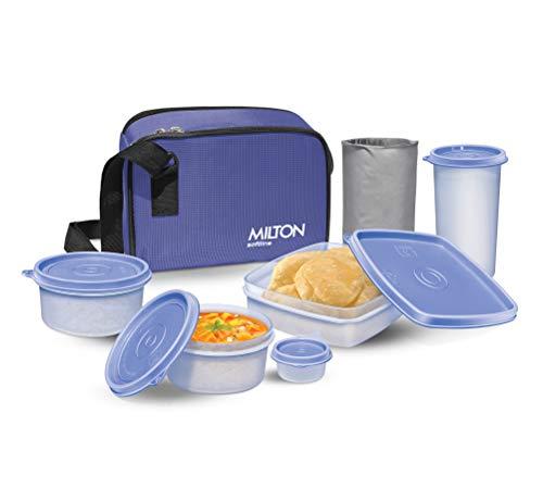 Milton Prime Trendy Plastic Tiffin Box, 4 Containers and 1 Tumbler, Blue
