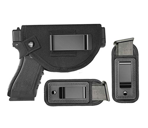 Tenako Universal Gun Holster Magazine Pouch Right Left IWB OWB Hand Inside Concealed Carry Holster for Single Double Stack Mags S&W M&P Shield for Glock 17 19 23 25 26 27 29 30 32 42 43 Springfield