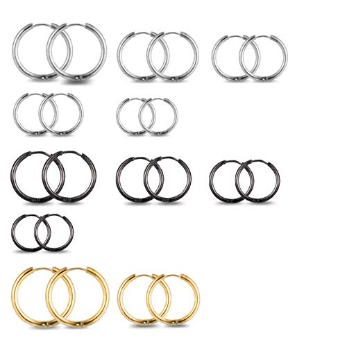 AUXSOUL 11 Pair Small Hoop Earrings Set Cartilage/Helix/Tragus Earring Cartilage Helix Piercing Jewellery Stainless Steel Hoop Earring 10,12,14,16,18,20mm