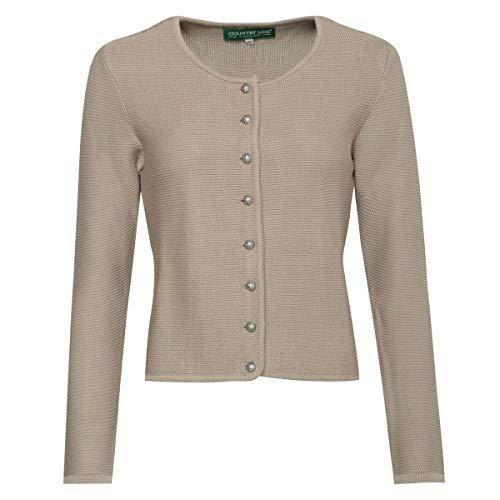 Country-Line Damen Trachten-Mode Trachtenstrickjacke Bine in Beige traditionell, Größe:50, Farbe:Beige
