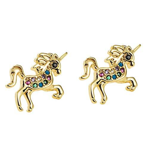 N/A/a Un Par de Pendientes Colgantes con Forma de Unicornio para Mujeres, Niñas Y Niños, Hechos de