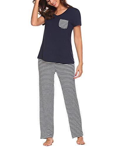 Uni-Wert Damen Schlafanzug Zweiteilig Nachtwäsche Frauen Pyjama Set T-Shirt + Hose Lang,Marineblau - Lang,XXL