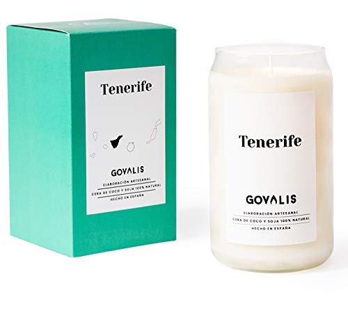 GOVALIS Vela Tenerife | Perfumadas y Aromáticas | Cera de Soja & Coco 100% Natural – Velas Recuerdos Relajación Decorativas Yoga Grandes Blancas Cumpleaños Regalos Originales – 70-90 h – 390 g