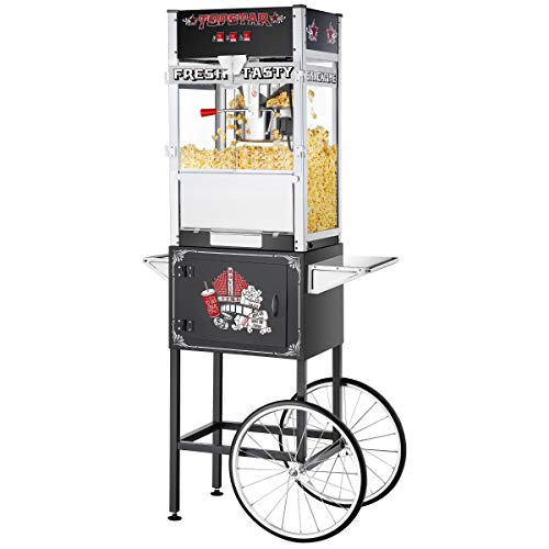 Fantastic Deal! MISC Commercial Popcorn Machine W/Cart 12oz - 12 Oz Black Glass Stainless Steel