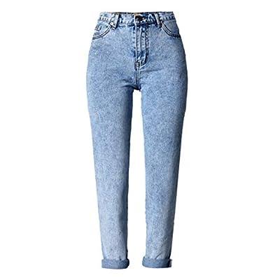 HOSD Women Long Jeans High Waist Cotton Snow Wash Type Denim Jeans Vintage Loose Straight Denim Jeans Trousers from HOSD