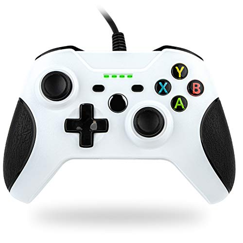 Wired Controller für Xbox One,TechKen Kabelgebundener Xbox Controller Gamepad mit Dual-Vibration USB und 3,5mm Kopfhöreranschluss Kompatibel mit Xbox One S/X/Windows PC (Weiß)
