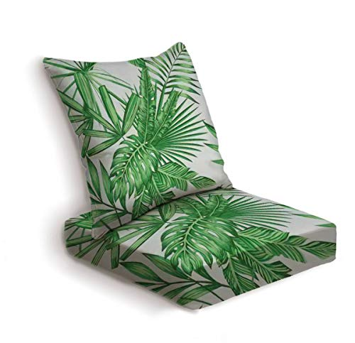 2-Piece Outdoor Deep Seat Cushion Set Exotic tropical green vector leaves seamless pattern light background Back Seat Lounge Chair Conversation Cushion for Patio Furniture Replacement Seating Cushion