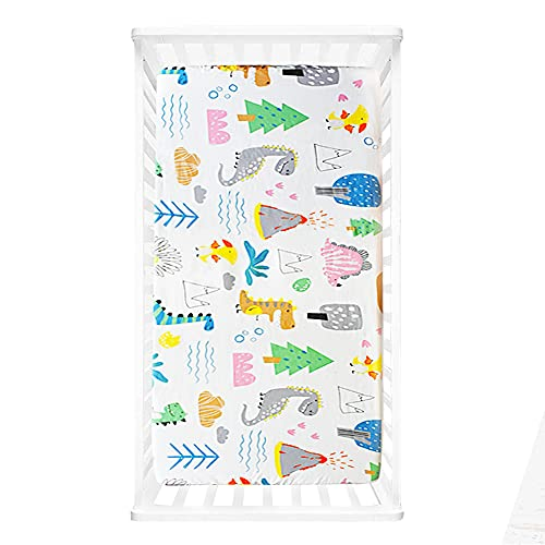 Baby Cot Bed Fitted Sheets, Ynaice 100% Organic Cotton Toddler Crib Sheets 70 × 140cm, Travel Cot Sheets with Printed Design, Mattress Protector for Boys and Girls Soft and Breathable - Dinosaur