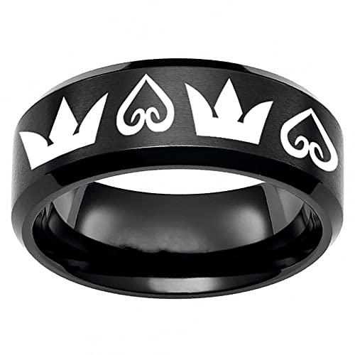 King's Heart Ring in acciaio inox Anime anello in acciaio al titanio lucido anello di nozze band argento anime anello per uomini e ragazzi, 6 nero