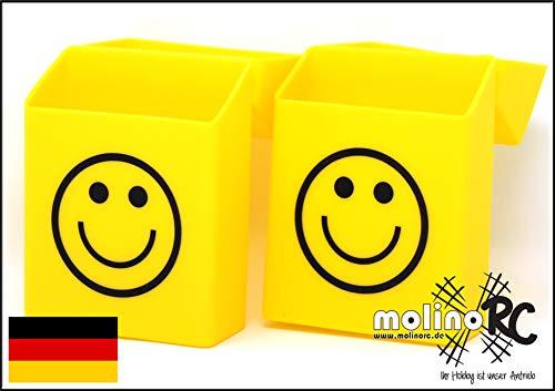 2X Zigaretten-Box Silikon   Update 2019   Smiley   Zigarettenhülle - Zigarettenetui   für Zigarettenschachtel Standardgröße   auch 21er Schachteln          